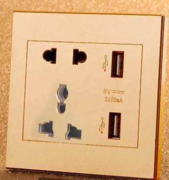 USB five-hole wall switch socket gold